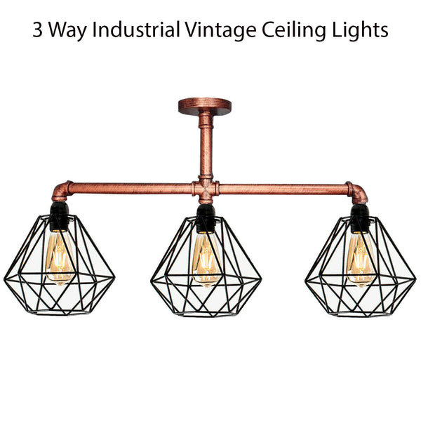 Industrial Vintage Ceiling Lights Metal Pipe Retro Loft Pendant Lamps