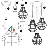 Vintage Modern Industrial Wire Cage Style Retro Ceiling Pendant Light 3 Head Ceiling Lamp