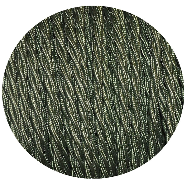 Vintage Army Green Fabric 3 Core Twisted Italian Braided Cable 0.75mm - Vintagelite