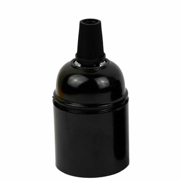 E27 Plain Screw Holder With Black Cord Grip Bakelite Lamp Holder - Vintagelite