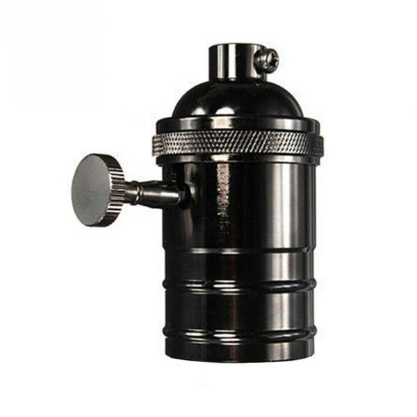 Black E27 Screw Vintage Switch Bulb Holder Industrial Antique Retro Edison Lamp Light - Vintagelite