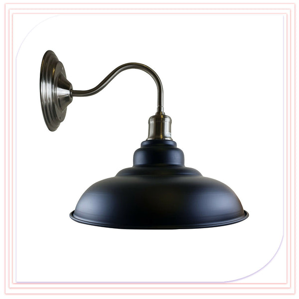 Black Wall Light Fitting Painted Metal Lamp