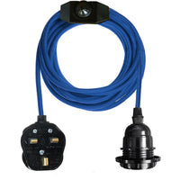 Blue Color Dimmer Switch 4.5m Fabric Flex Cable Plug In Pendant Lamp E27 Holder - Vintagelite