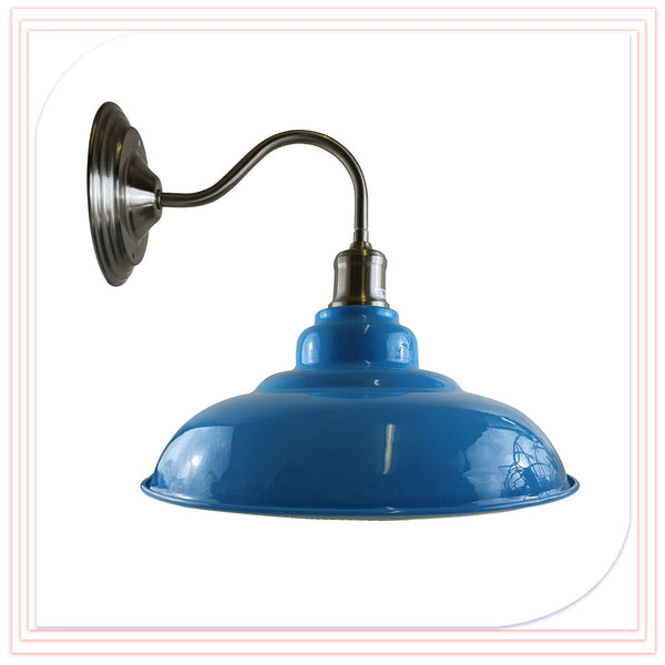 Blue Wall Light Fitting Painted Metal Lamp