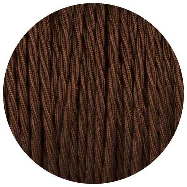 Brown Twisted Vintage fabric Cable Flex0.75mm 2 Core - Vintagelite