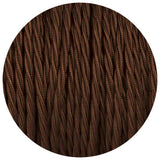 Brown Twisted Vintage fabric Cable Flex0.75mm 3 Core - Vintagelite
