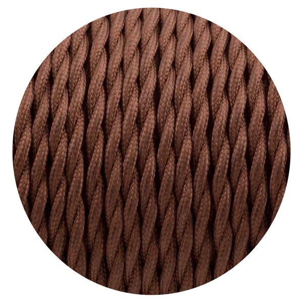 Dark BrownTwisted Vintage fabric Cable Flex0.75mm 3 Core - Vintagelite