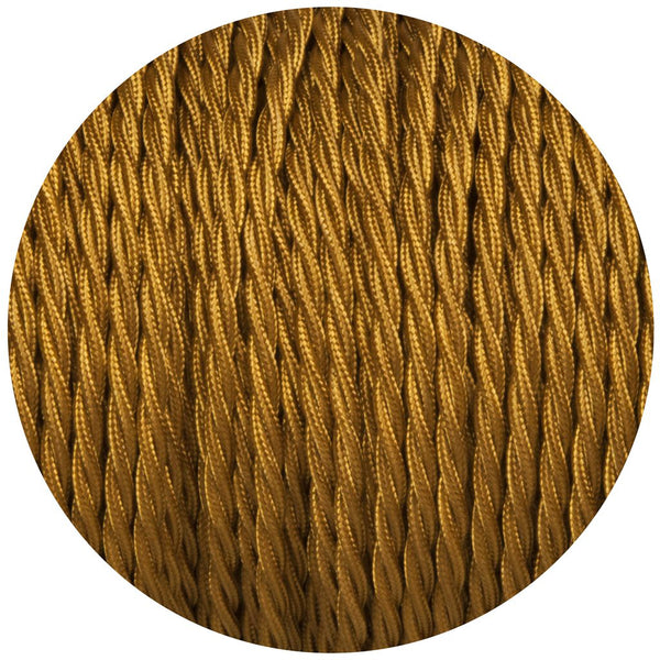 Gold Twisted Vintage fabric Cable Flex0.75mm 2 Core - Vintagelite