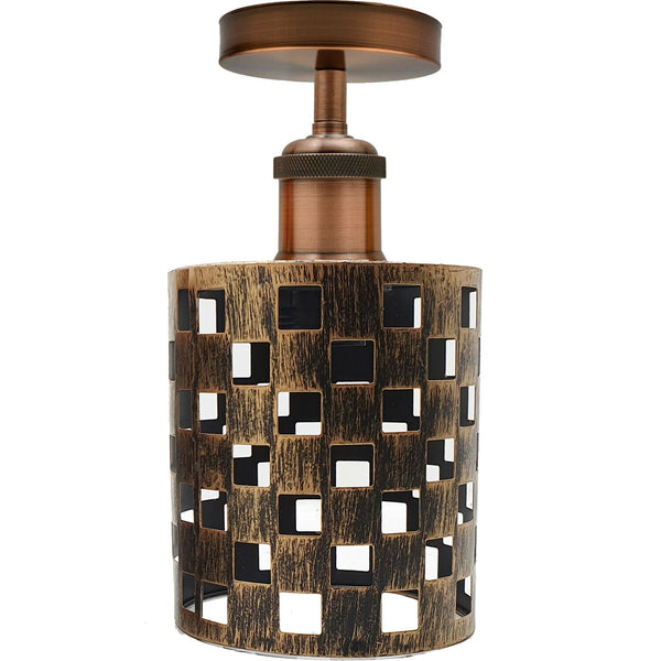 Brushed Copper Square E27 Ceiling Light Retro Flush Mount Ceiling Lampshade Fitting