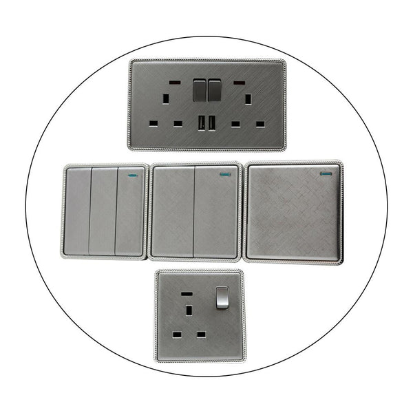 Brushed Chrome Screwless Light Switches & Socket - Vintagelite