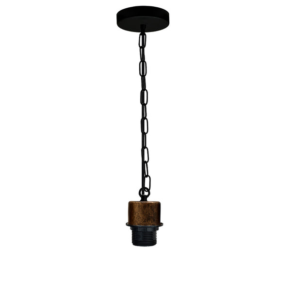 Brushed Copper E27 Lamp Holder Pendant Light Fitting Black Round Braided Flex With Chain - Vintagelite