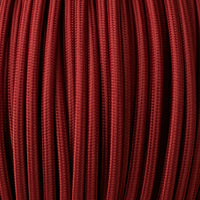 Vintage Burgundy Fabric 3 Core Round Italian Braided Cable 0.75mm - Vintagelite