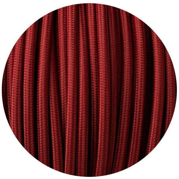 Vintage Burgundy Fabric 2 Core Round Italian Braided Cable 0.75mm - Vintagelite