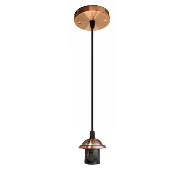 Copper E27 Ceiling Rose Light PVC Fabric Flex Pendant Lamp Holder Fitting - Vintagelite
