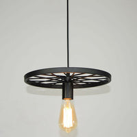 Vintage Industrial Ceiling Rustic Wheel Pendant Cage Lights