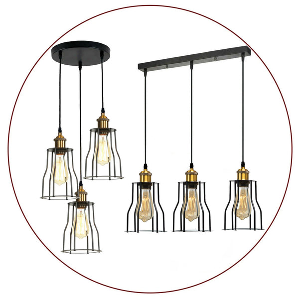 Vintage Pendant Light Shade Industrial Metal Wire Frame Loft Cage Ceiling Light