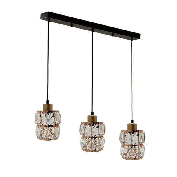 Three Droplet Rectangle Ceiling Chandelier Crystal Pendant Light Lampshade
