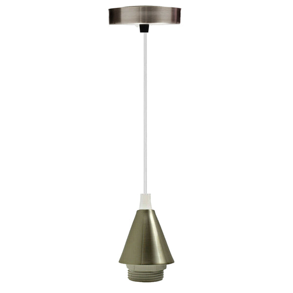 Light Pendant Fitting Ceiling Rose E27 Suspension Fabric Corded Brushed Chrome Set - Vintagelite