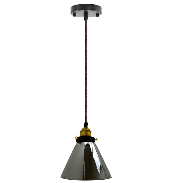 Cone Shape Modern Industrial Ceiling Light Shade Glass Pendant Fittings - Vintagelite