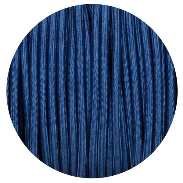 Vintage Dark Blue Fabric 2 Core Round Italian Braided Cable 0.75mm - Vintagelite
