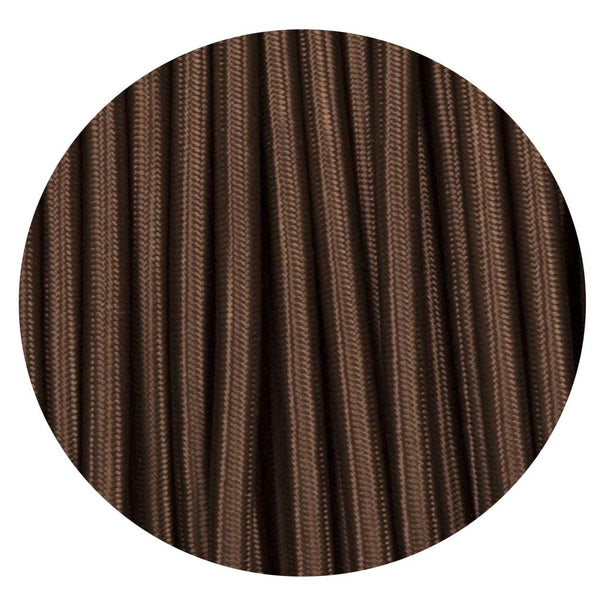 Vintage Dark Brown Fabric 2 Core Round Italian Braided Cable 0.75mm - Vintagelite