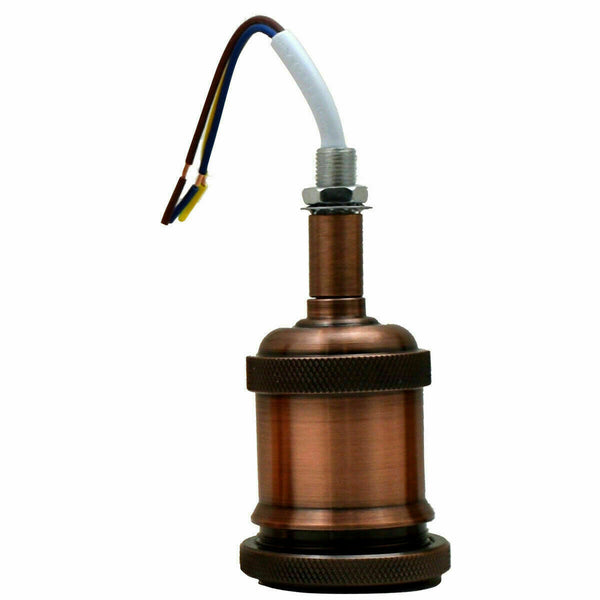 Fully Earthed Copper Colour E27 Bulb Holder - Vintagelite