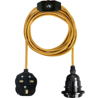Gold Color Dimmer Switch 4m Fabric Flex Cable Plug In Pendant Lamp E27 Holder - Vintagelite