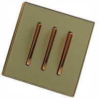 Gold Glossy Screw less Wall Light 3 Gang Switch - Vintagelite