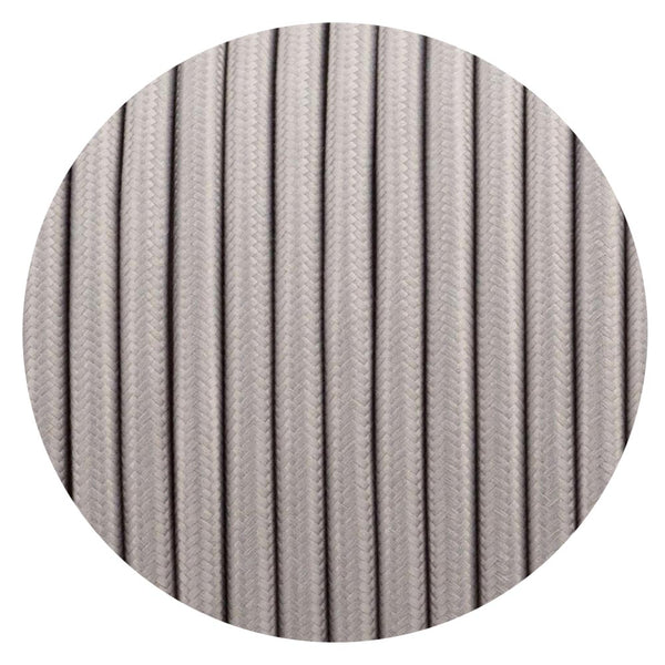 Vintage Grey Fabric 2 Core Round Italian Braided Cable 0.75mm - Vintagelite