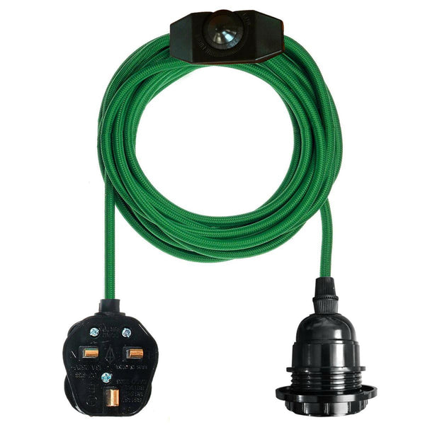 Green Color Dimmer Switch 4.5m Fabric Flex Cable Plug In Pendant Lamp E27 Holder - Vintagelite