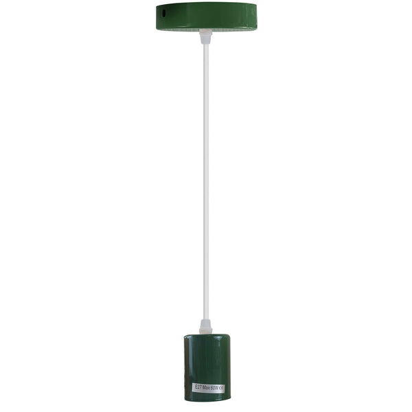 Green E27 Ceiling Light Industrial Pendant Lamp Bulb Holder