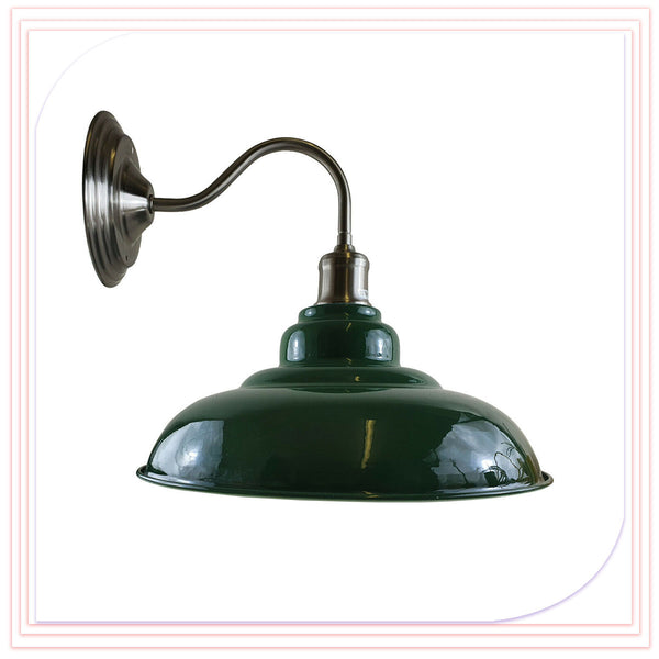 Green Wall Light Fitting Painted Metal Lamp