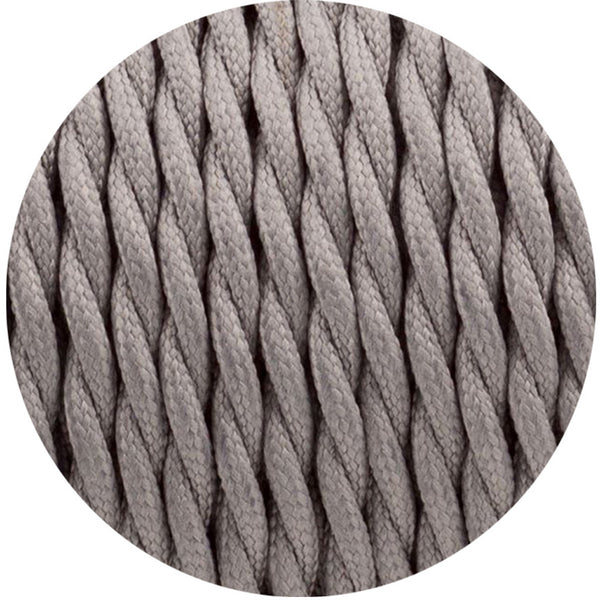 Grey Twisted Vintage fabric Cable Flex0.75mm 2 Core - Vintagelite