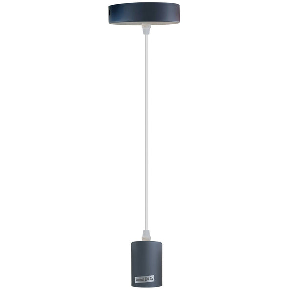 Grey E27 Ceiling Light Pendant Lamp Bulb Holder