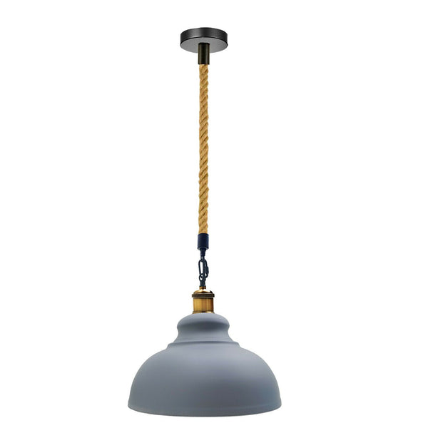 Grey Industrial Pendant Shade Modern Hemp Hanging Retro Light