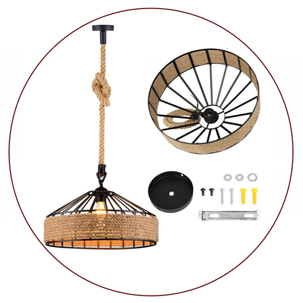 Retro Industrial Hemp Rope Pendant Light Chandelier Ceiling Pendant Decorative