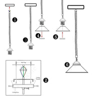 Metal Hemp Pendant Lamp Lighting With Bulb