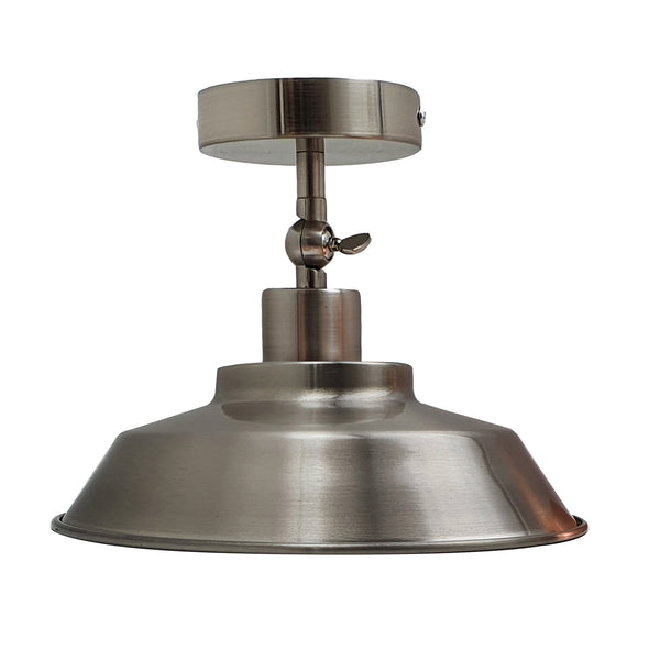 Industrial Retro Metal Semi Flush Ceiling Mount Light Fixture Pendant Lamp - Vintagelite