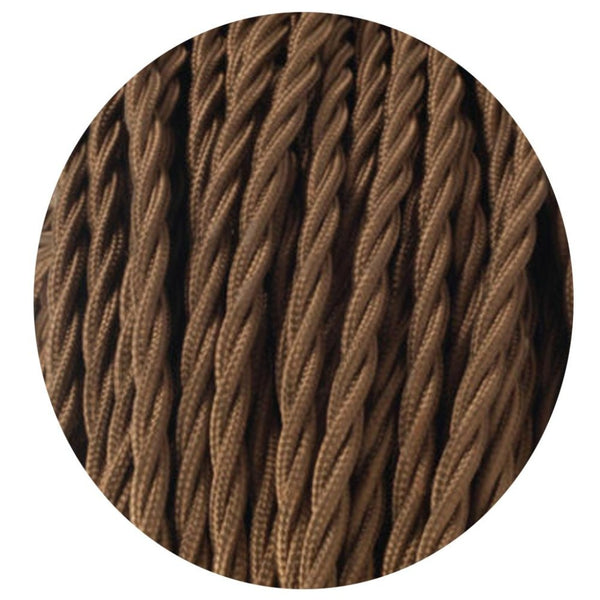 Vintage Light Brown Twisted Vintage fabric Cable Flex 0.75mm 3 Core - Vintagelite
