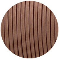 Vintage Light Brown Fabric 3 Core Round Italian Braided Cable 0.75mm - Vintagelite