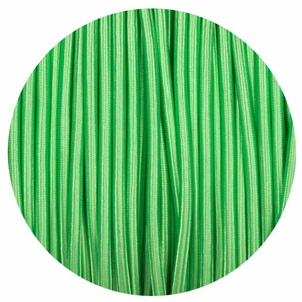 Vintage Light Green Fabric 2 Core Round Italian Braided Cable 0.75mm - Vintagelite