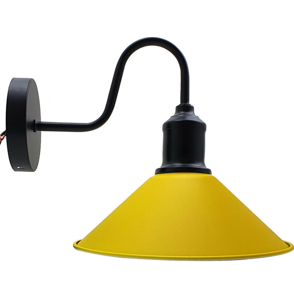 Yellow Retro Industrial Yellow Color Wall Mounted Lights Rustic Sconce Lamps Fixture - Vintagelite
