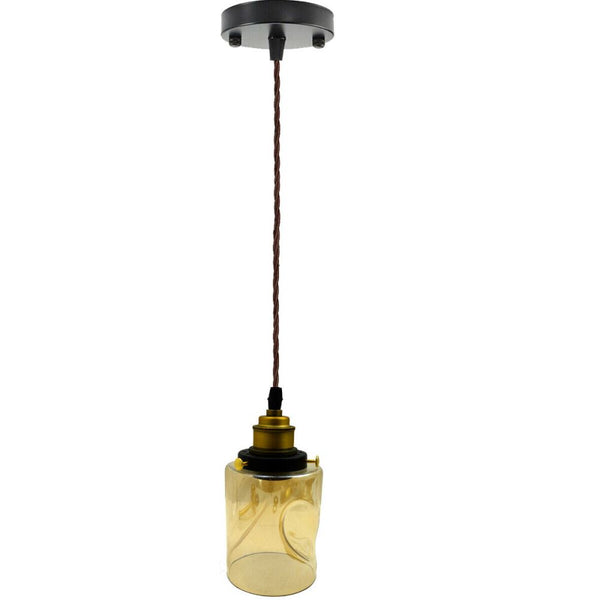 Vintage Industrial Glass LampShade Loft Black Ceiling Pendant Light - Vintagelite