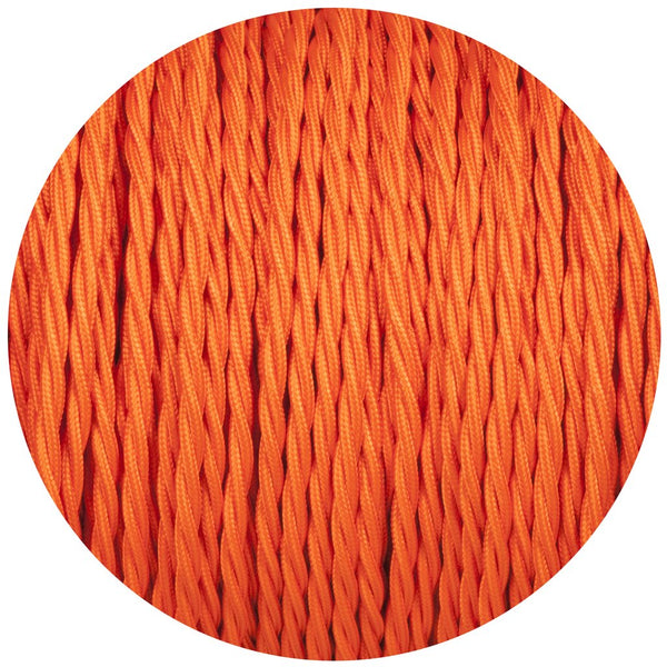 Orange Twisted Vintage fabric Cable Flex0.75mm 2 Core - Vintagelite