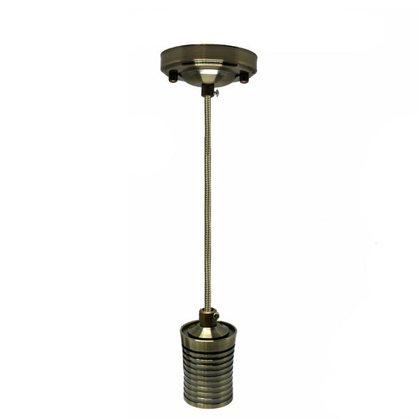 Green Brass E27 Screw Ceiling Rose Light Fabric Flex Pendant Lamp Holder