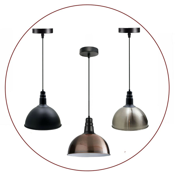 Modern Industrial Vintage Style Ceiling Pendant Light Fittings Metal Lampshades