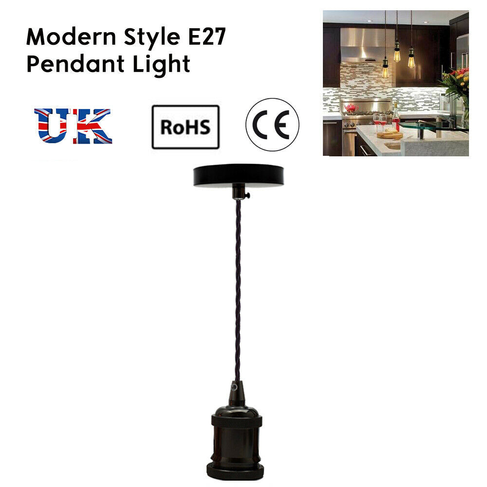 Ceiling Rose E27 Uk Pendant Fitting Suspension Black Set Fabric Corded 3 Light