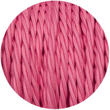 Rose Pink Twisted Vintage fabric Cable Flex0.75mm 3 Core - Vintagelite