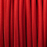 Vintage Red Fabric 2 Core Round Italian Braided Cable 0.75mm - Vintagelite