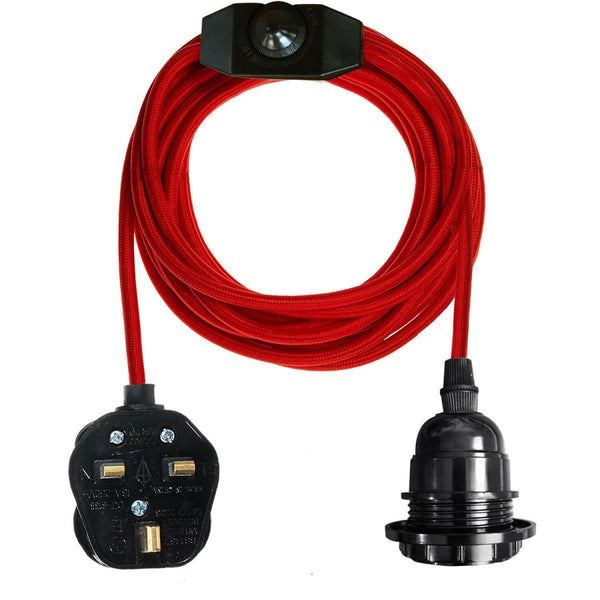 Red Color Dimmer Switch 4.5m Fabric Flex Cable Plug In Pendant Lamp E27 Holder